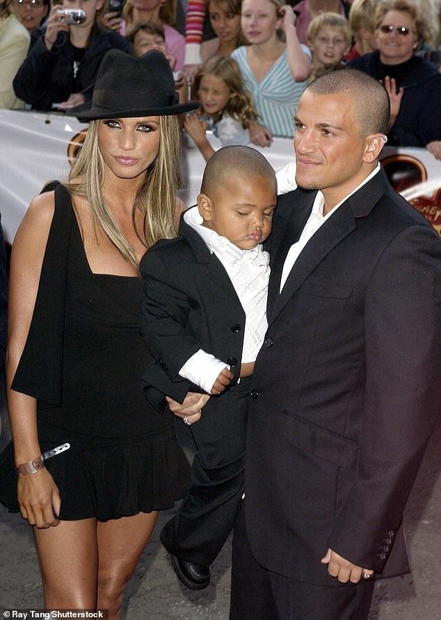 Famous ex-wife: Peter returned to the UK in the mid 1990s after launching a pop career in Australia. Pictured with ex-wife and glamour model Katie Price, and her son Harvey from her relationship with Dwight Yorke, in 2004