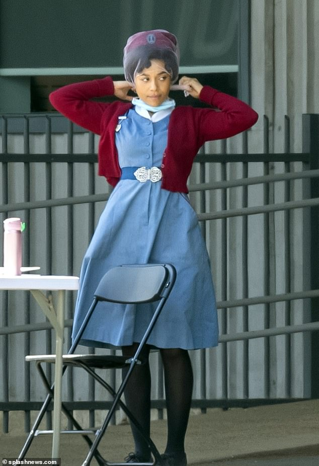 Back at it:filming for Call The Midwife series 11 continued on Friday as Leonie Elliott was spotted on set as she prepared to shoot scenes at Chatham Dockyard, Kent