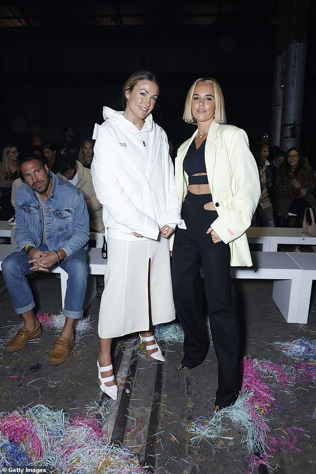 Pose: Pip Edwards and Claire Tregoning posed up a storm at Afterpay's Future of Fashion show during Afterpay Australian Fashion Week on Friday