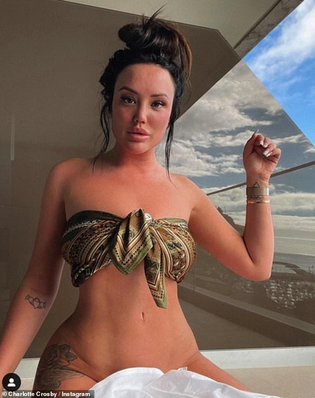 Feeling confident! Charlotte Crosby, 31, left almost nothing to the imagination in this photo shared to Instagram on Friday, as she posed in just a SCARF while on vacation in Portugal