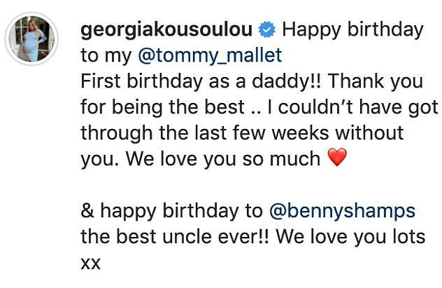 Happy: Alongside a snap from the day their son arrived, the reality star wrote: 'Happy birthday to my Tommy Mallet. First birthday as a daddy!!'