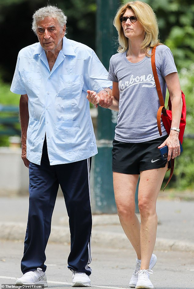 Side by side:Tony Bennett was spotted this week enjoying a stroll in his hometown of New York City with his third wife Susan Crow