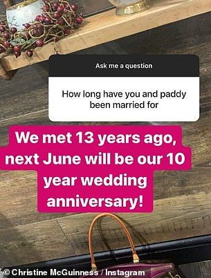 Anniversary: Christine was previously asked about their 10 year anniversary during a candid Q&A session on Instagram in December