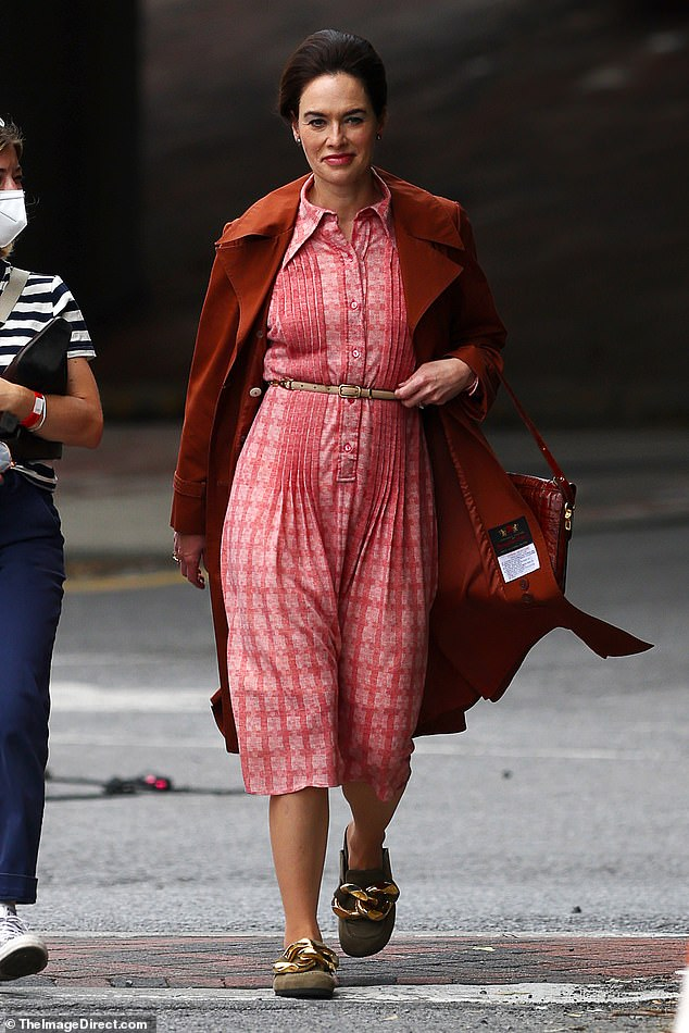 Time machine:Heady sported several retro costume changes while filming on location in Poughkeepsie, New York on Thursday