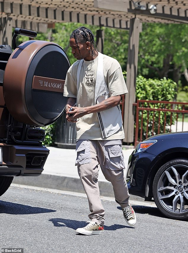 Drive: The Goosebumps rapper, 29, was heading to Coldwater Canyon Park to pick up his daughter Stormi, three, in his Mercedes-Benz G Wagon Cabriolet