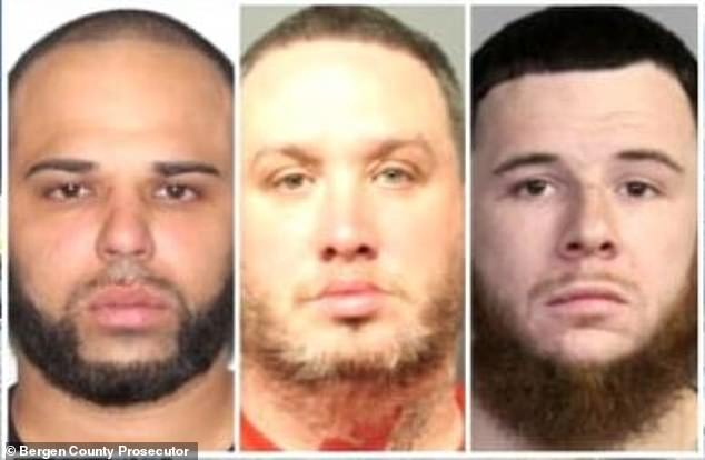Suspects: According to TMZ 's law enforcement sources in Bergen County, New Jersey, the suspects Matthew Gale, 40, Richard Murphy and Travis Villalobos, both 31, were alleged to have made off with '$3million in cash and jewelry' from an unlocked safe on the property, as well as a vehicle.