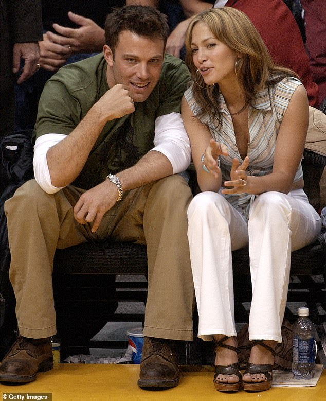 Back at it: Affleck and Lopez were first reported to have been rekindling their romance after she split from her ex-fiance, Alex Rodriguez; they are seen in 2003