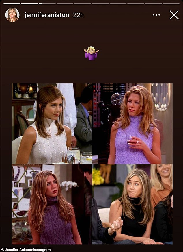 On Thursday: Jennifer Aniston made light of a costume detail from the Friends reunion special, which also harkened back to a particular wardrobe item favored by her iconic character Rachel