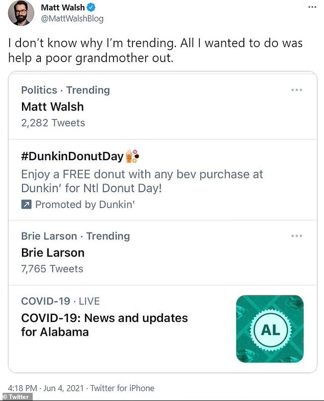'I don't know why I'm trending,' Walsh tweeted. 'All I wanted to do was help a poor grandmother out.'