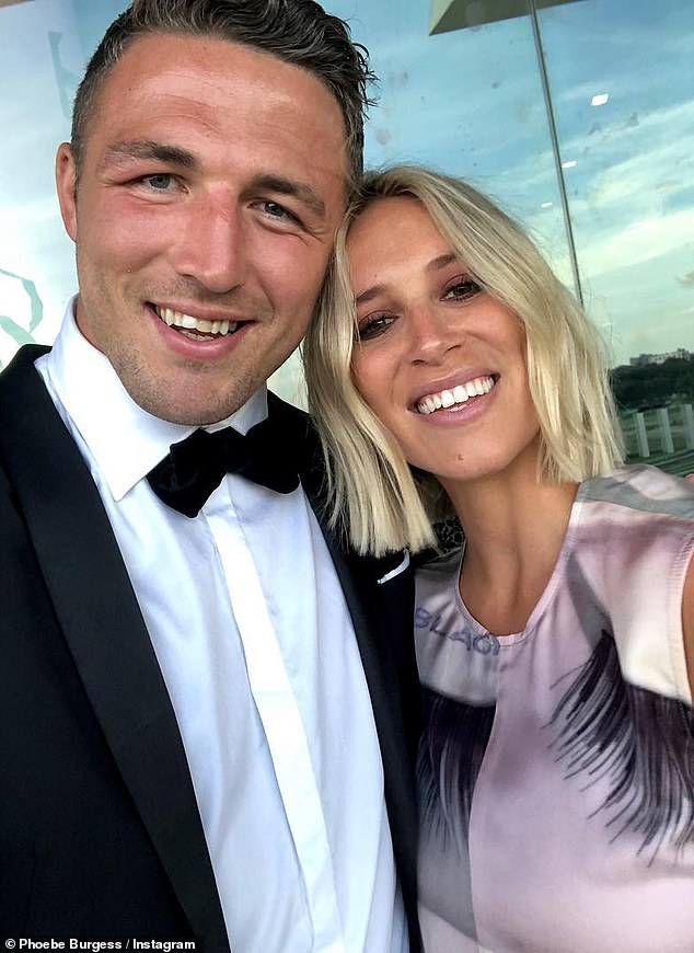 Over: Phoebe and ex-husband Sam Burgess (left) split in October 2019, after four tumultuous years of marriage. They had initially separated in December 2018 - shortly after the birth of their son, Billy - but reconciled in April, only to end things for good six months later