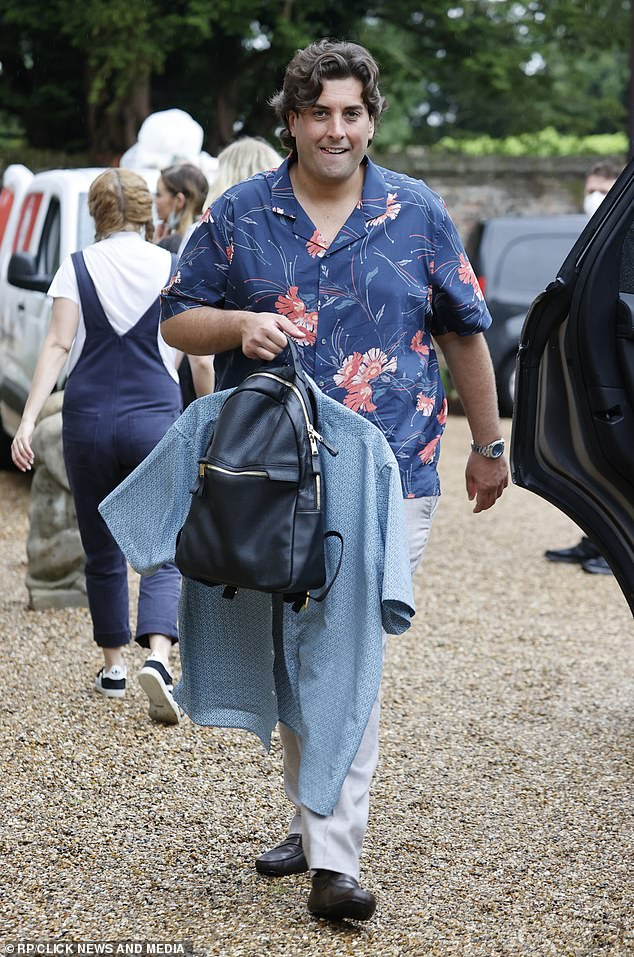 Good mood: James flashed a warm smile as he made his way inside the grand abode, where he was joined by a plethora of TOWIE stars past and present
