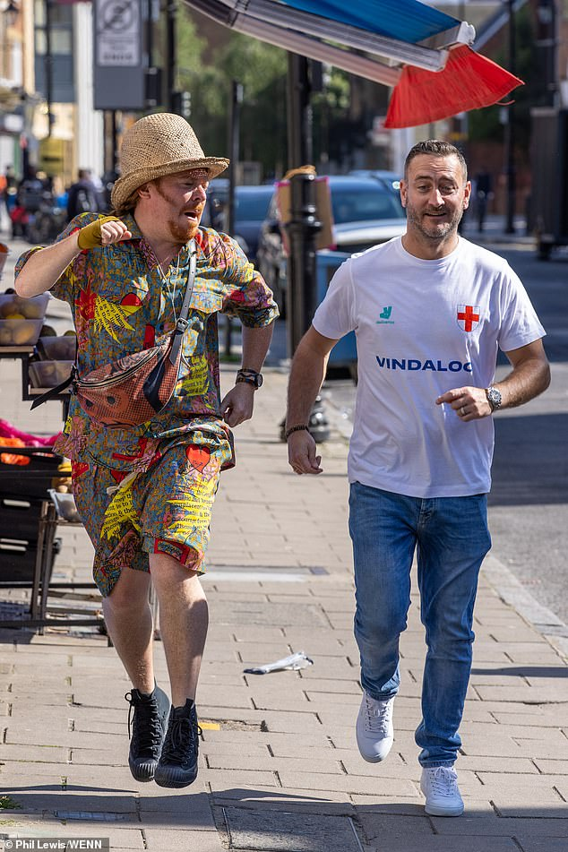 Star studded: The group was spotted Tuesday filming scenes for the new charity music video called Vindaloo Part Two, to raise funds for the NHS