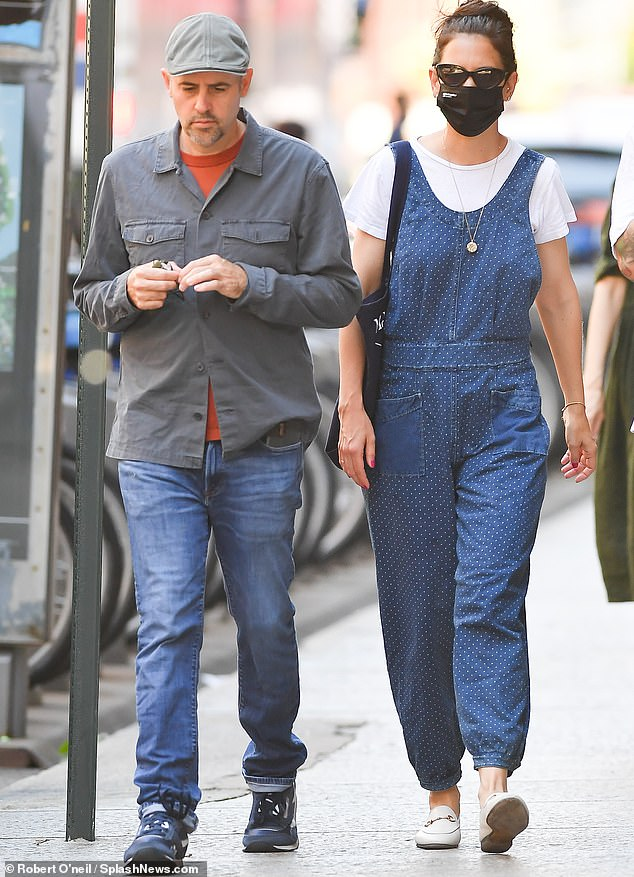 Kicks:The Batman begins star, who shares her 15-year-old daughter Suri with her ex-husband Tom Cruise, added a summery touch with white penny loafers
