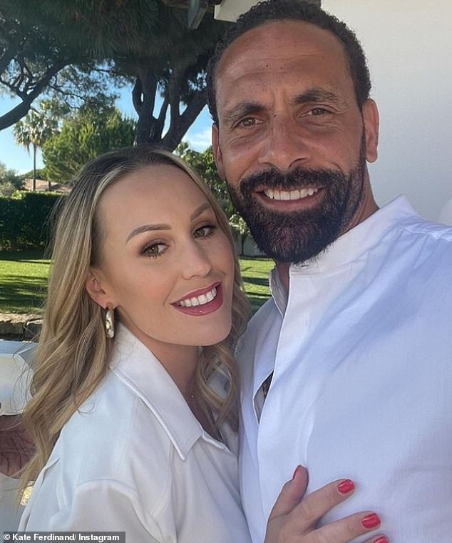 Happy couple: Kate and RioFerdinand, 42, welcomed their son Cree - who wore a whale print wetsuit while swimming - back in December