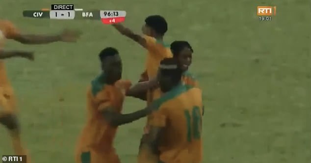 The 18-year-old was mobbed by his team-mates after scoring his first international goal
