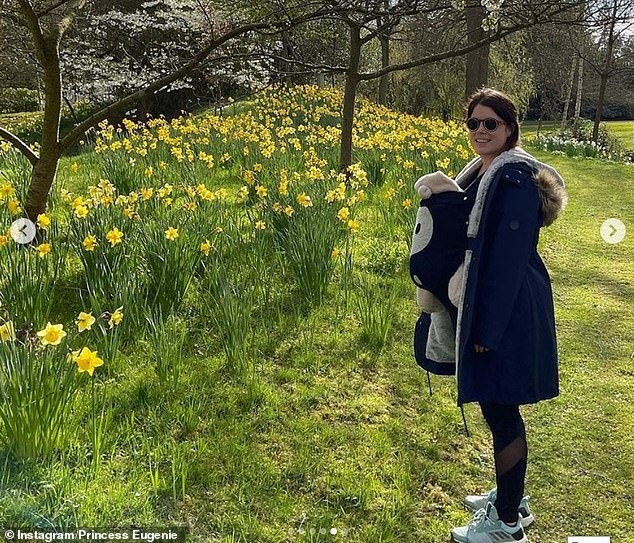 Princess Eugenie has shared an adorable new photo of her baby August during a walk at Windsor, along with a series of snaps to mark World Environment Day