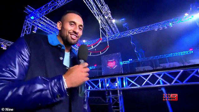 New role: A 30 second long video for the Channel 9 game show showed the 26-year-old athlete providing sideline commentary