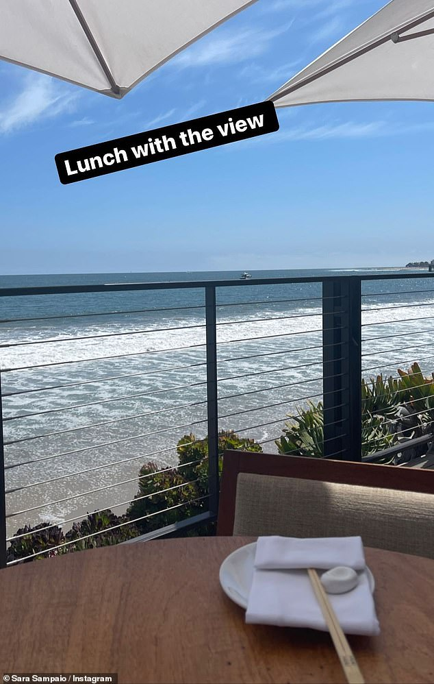 'Lunch with a view': Sampaio took to Instagram to give her 7.7 million fans and followers a look at the scenic view from her table