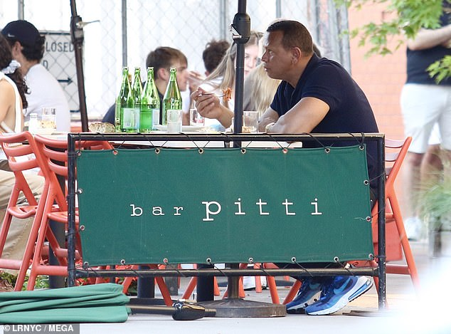 Tasty: He dined on pasta outdoors at the restaurant, a popular spot for celebrity sightings