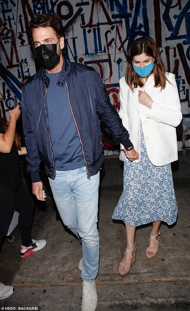 Moved on: : Last month, Form, 52, confirmed his new romance with actress Alexandra Daddario, 35, by also enjoying a night out at the same celeb-friendly eatery