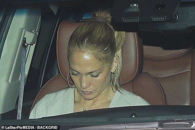 Date at home: Jennifer Lopez, 51, showed off a minimal-makeup look as she was spotted leaving Ben Affleck home in LA's Brentwood neighborhood on Saturday