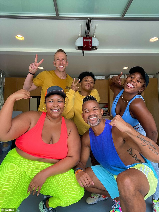 All love:'Lizzo has been doing my workout #LetsGetUp and I wanted to give her some love!! Y'all - she's so d*mn cool,' he concluded
