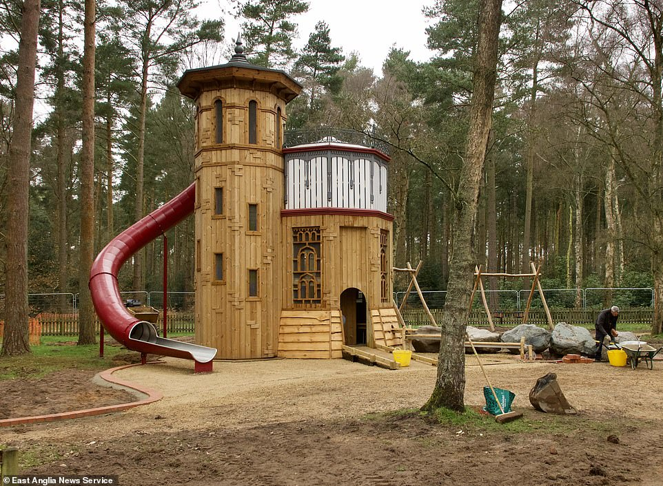 The centrepiece is a replica of the 1877 Appleton Water Tower, built to improve water quality at Sandringham