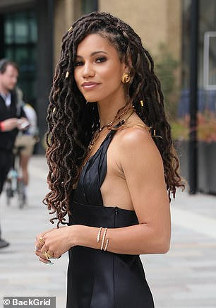 Glowing: Vick sported a radiant pallet of make-up and wore her hair in twisted braids