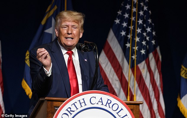 Trump addressed the North Carolina GOP state convention earlier in the day on Saturday, in one of his first returns to the political stage since his leaving office in January