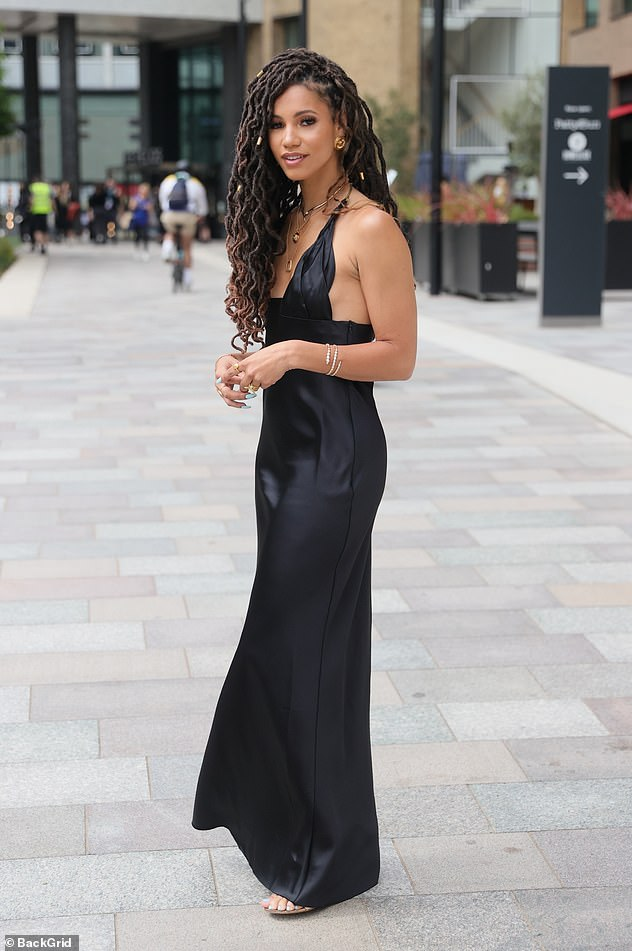 Stunning:She added gold jewellery to her ensemble and sported a pair of metallic heels, giving her ensemble a touch of glitz