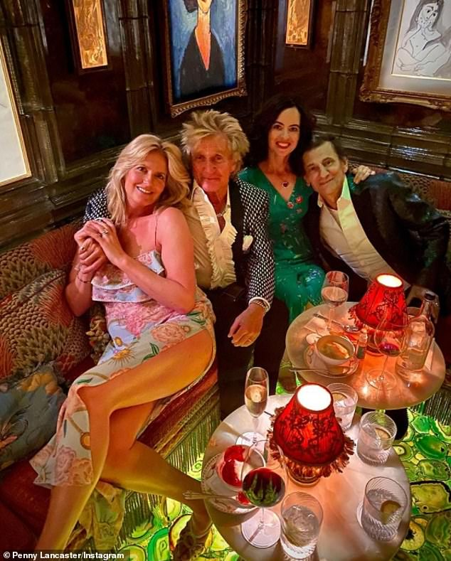 'Another amazing night':Penny Lancaster put on a leggy display as she and husband Rod Stewart enjoyed a night out with Ronnie and Sally Wood on Saturday
