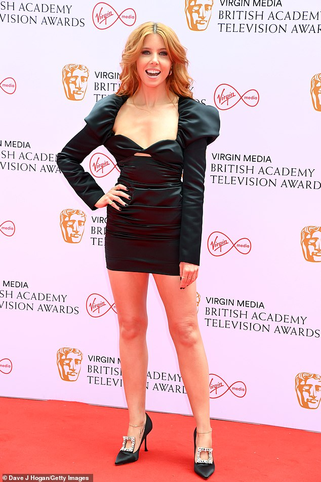 Amazing:Stacey Dooley, 34, put on a glamorous display in a leggy black mini dress as she arrived for the British Academy Television Awards on Sunday