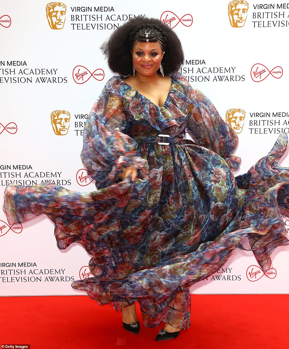 Twirling: Gbemisola Ikumelo showed off the beauty of her patterned dress in all its glory as she twirled on the red carpet