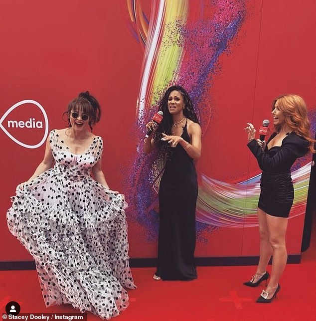 Fun: Vick and Stacey looked incredible on the red carpet as they interviewed actress Helena Bonham Carter