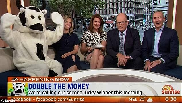 Better call HR! Mr Pell said one of the staffers tasked with wearing the suit had a habit of whispering 'dirty things' to the hosts in order to distract them. Pictured (left to right): Cash Cow, Edwina Bartholomew, Natalie Barr, David Koch and Mark Beretta