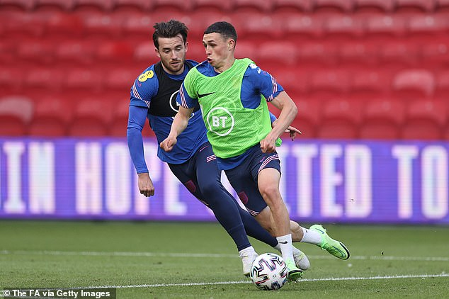 Ben Chilwell scored a screamer during the session while Phil Foden looked lively