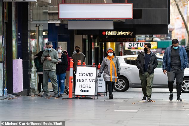 Supply: An additional 100,000 vaccines are being made available for Victoria, where five million Melburnians remain in a 14-day lockdown due to end on Thursday. (Pictured: Covid-19 testing clinic on Bourke Street in Melbourne)