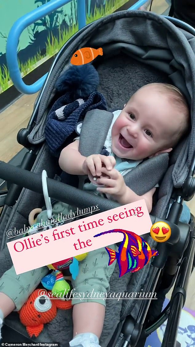 Joy: Cam and Jules welcomed son Oliver on October 3 last year