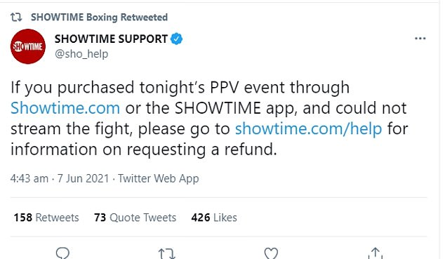 Showtime are advising fans to visit their website if they want to request a refund