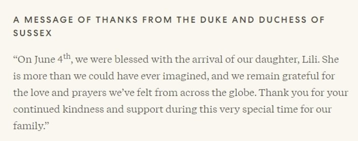 Last night the delighted Duke and Duchess of Sussex announced the birth of their daughter on their Archewell website