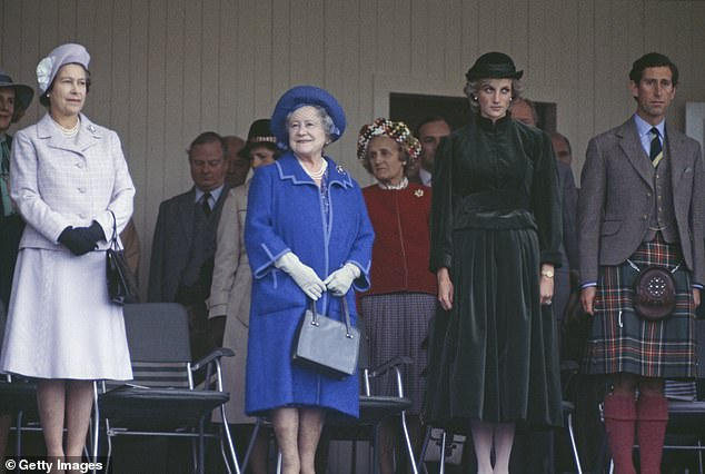 Diana's relationship with the Queen mother worsened in 1992 when the Princess of Wales collaborated with Andrew Morton who published tell-all book Diana: Her True Story, about her marriage to Charles. Pictured, left to right: The Queen, The Queen mother, Diana and Charles at Balmoral in 2002