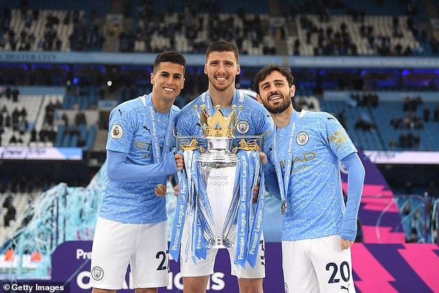 Ruben Dias (centre) is the most expensive centre back while Bernardo Silva (right) is the oldest player inside the top 25