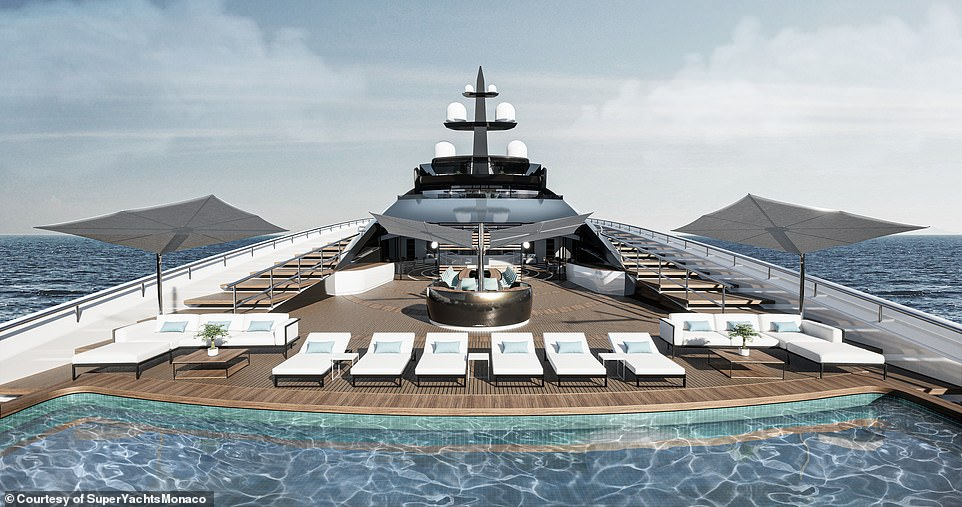 There are plenty of places to soak up the sun on the superyacht with generous seating areas and multiple swimming pools