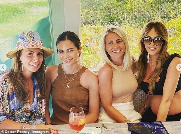 The girls: In one photo, Coleen and pregnant former TOWIE star Georgina Cleverley (far right) enjoyed drinks with two other female friends