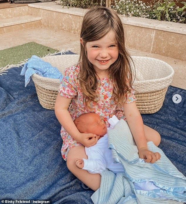 Adorable:It comes after Binky shared the heartwarming moment her daughter India met her baby brother for the first time to Instagram on Monday