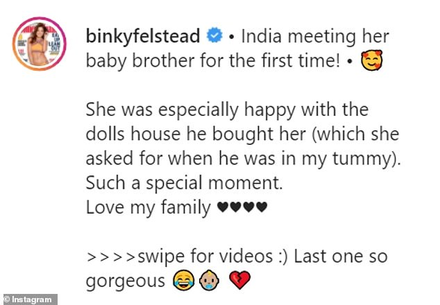 Binky wrote:'India meeting her baby brother for the first time! • 'She was especially happy with the dolls house he bought her'