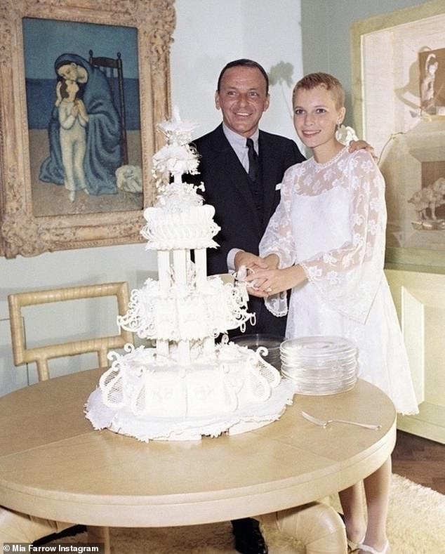Longtime love: The 76-year-old actress (R) admitted she 'never really split' with the nine-time Grammy winner (L) despite him blindsiding her with divorce papers on the 1968 set of Rosemary's Baby (pictured at their wedding party in 1966)