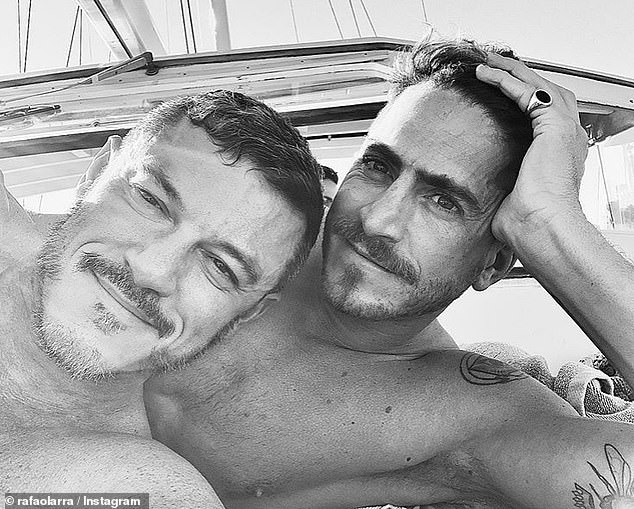 Exes:The actor recently confirmed his split from his art director boyfriend Rafael Olarra (right)