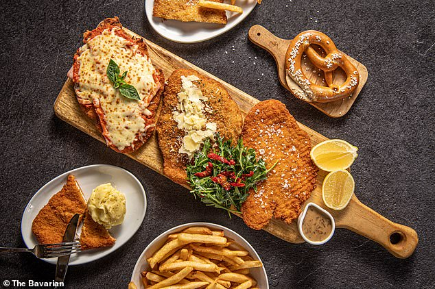The Bavarian will offer the $59 Schnitzel Celebration Platter showcasing a trio of golden-crumbed cheesy chicken parmigiana, garlic and parmesan chicken schnitzel and a traditional Jagerschnitzel with mushroom sauce, served with crispy fries