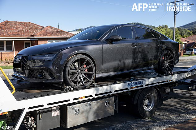 A luxury Audi sedan seized by the AFP as part of their joint investigation with the U.S. FBI